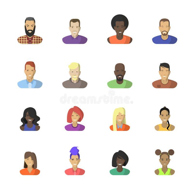 Mujeres del hombre del sistema del icono de las caras Vector aislado en blanco libre illustration
