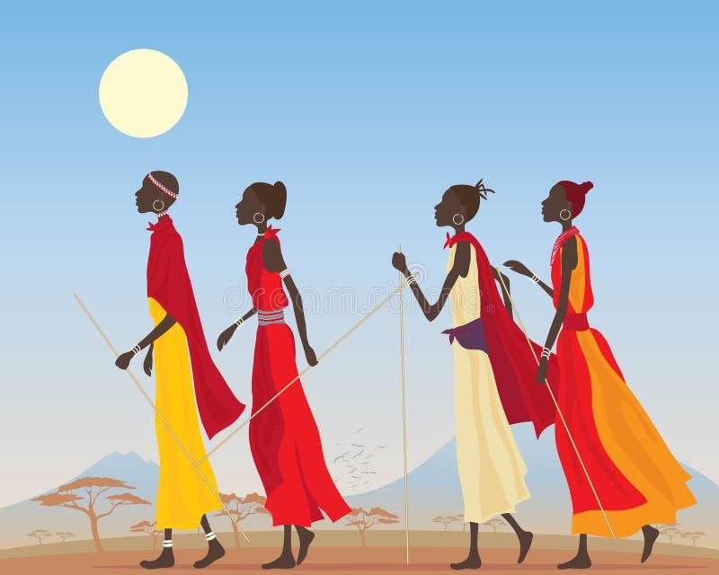 Mujeres del Masai ilustración del vector
