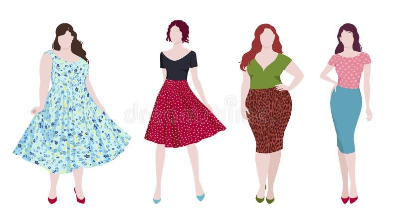 Mujeres delgadas y gordas de la moda ilustración del vector