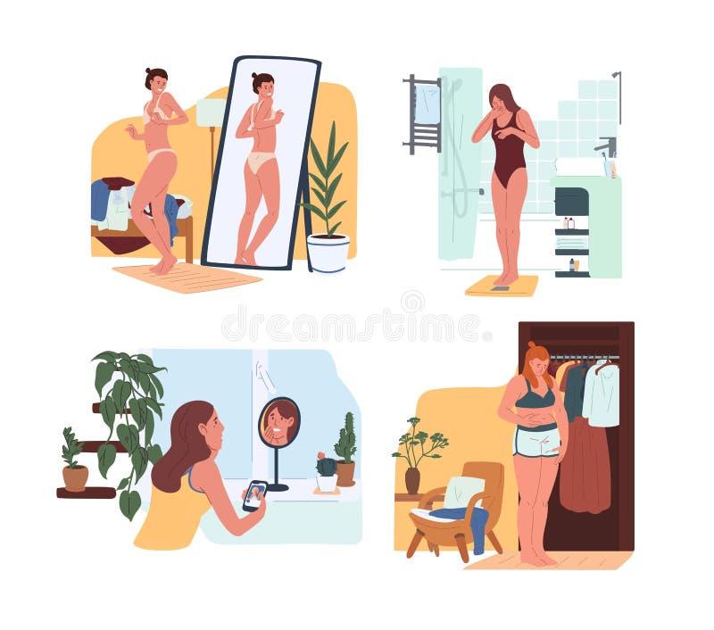 Mujeres divertidas jovenes en la ropa interior que mira en espejo y que pesa en escalas Problema del rechazo del cuerpo, dysmorph libre illustration