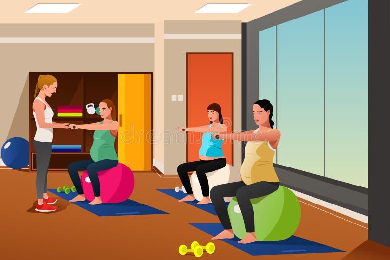 Mujeres embarazadas con las bolas del ejercicio ilustración del vector