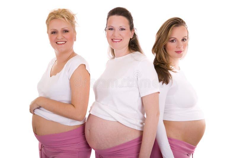Mujeres embarazadas de un picofaradio del grupo fotos de archivo libres de regalías