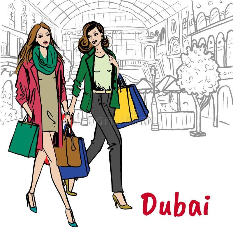 Mujeres en alameda de compras stock de ilustración