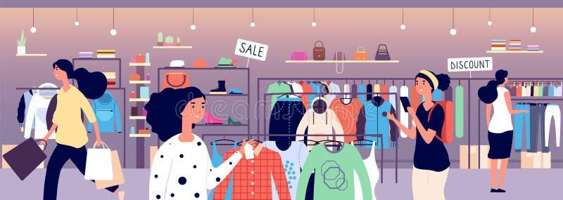 Mujeres en almac?n de ropa Compradores de la gente que eligen la ropa de la moda en boutique Concepto interior del vector de la t libre illustration
