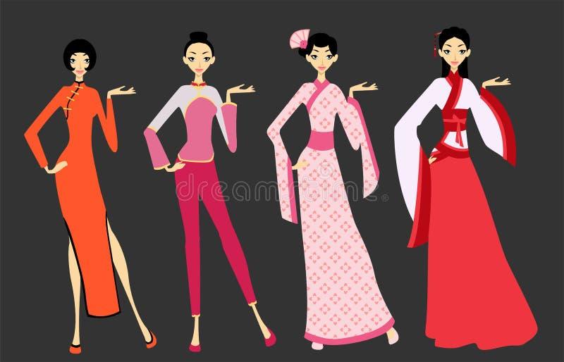 Mujeres en los trajes asiáticos - China stock de ilustración