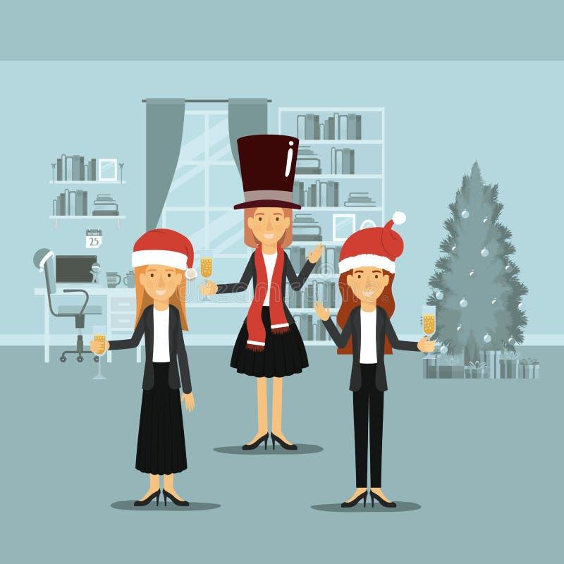 Mujeres en ropa formal que celebran la Navidad con champán y toda con los sombreros de la Navidad en escena colorida en hogar libre illustration