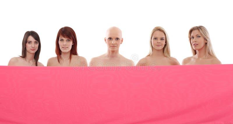 Mujeres en rosa - cáncer de pecho Awereness imágenes de archivo libres de regalías
