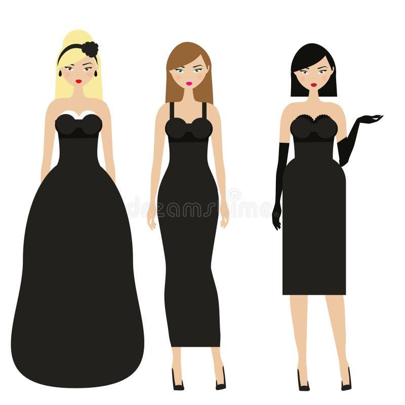 Mujeres en vestidos negros Noche femenina, igualando el dresscode elegante Señoras en ropa de moda elegante libre illustration