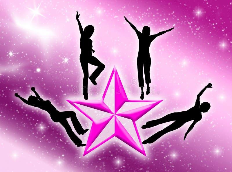 Mujeres felices en la estrella ilustración del vector