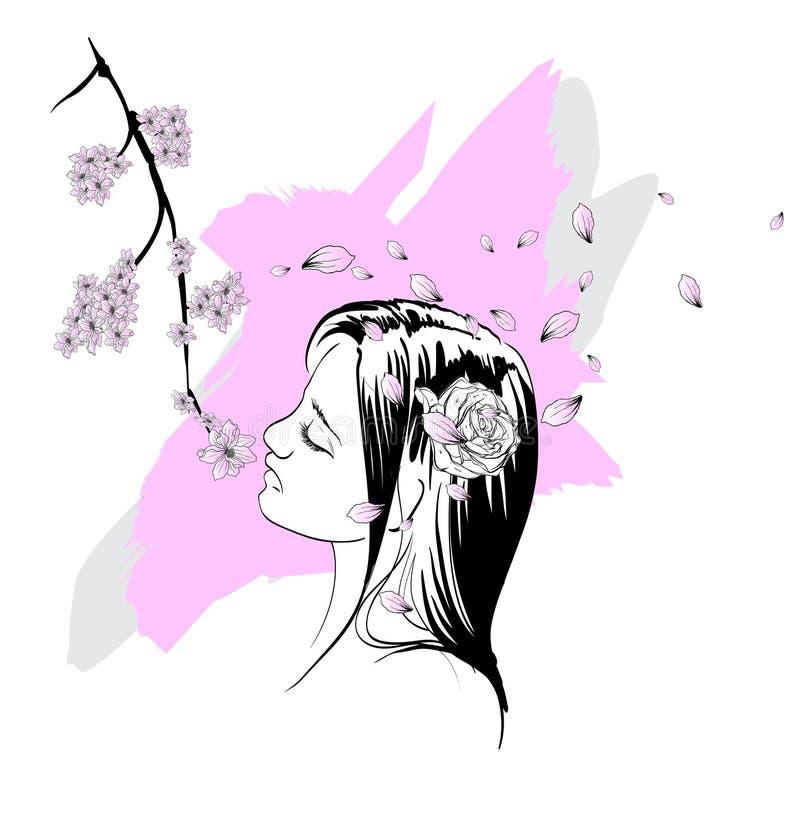 Mujeres hermosas de la moda con la flor colorida abstracta Mano drenada Retrato femenino de la hada floral m?gica stock de ilustración