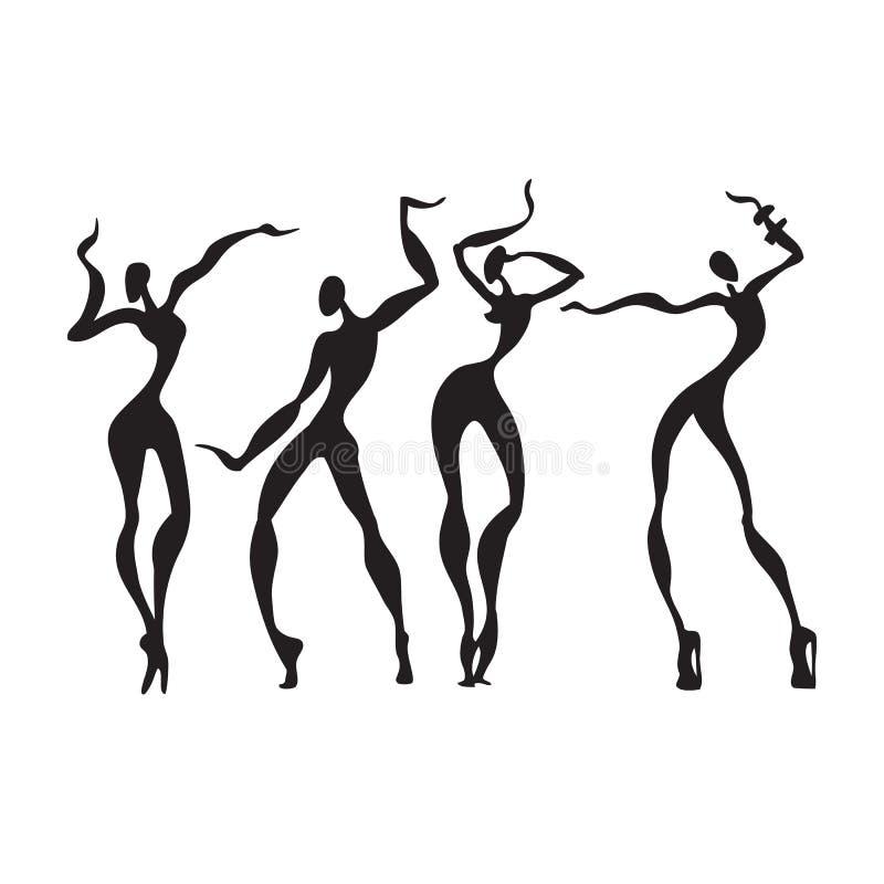 Mujeres hermosas Siluetas del baile ilustración del vector