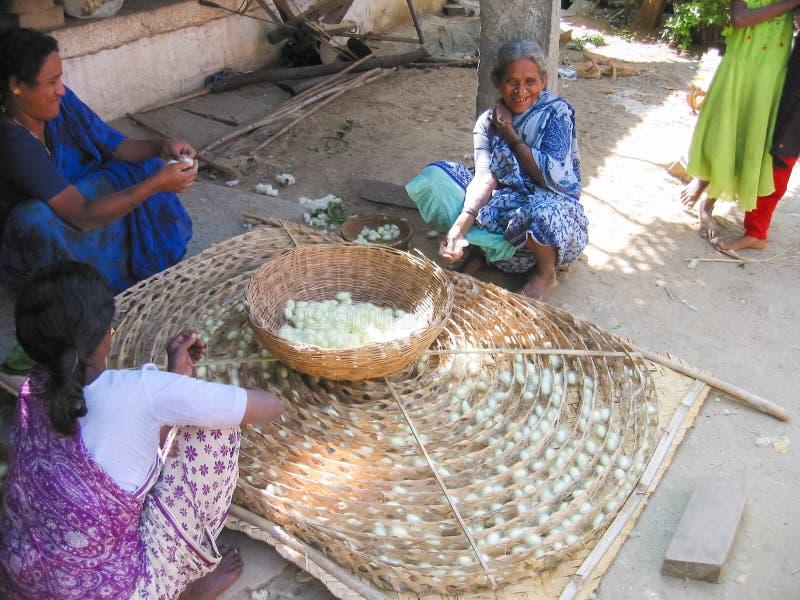 Mujeres indias envejecidas que hacen la seda con sus manos imagenes de archivo