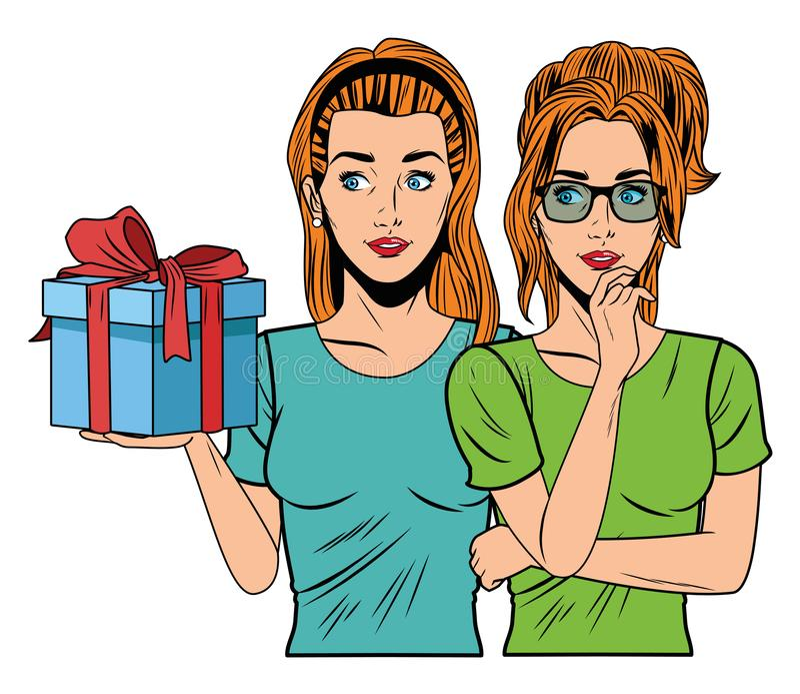 Mujeres jovenes con una caja de regalo stock de ilustración