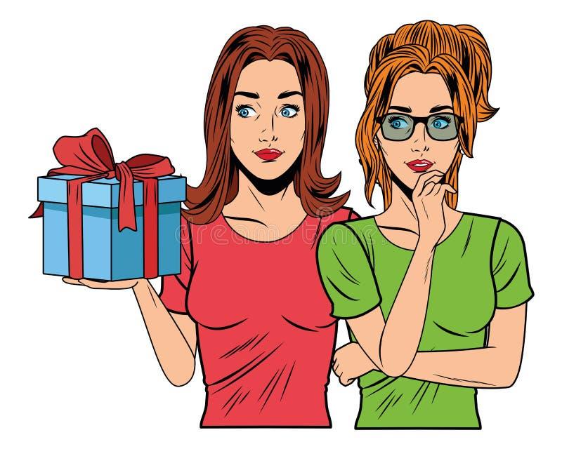 Mujeres jovenes con una caja de regalo libre illustration