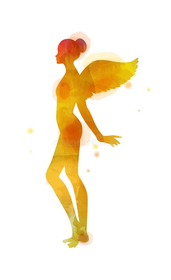 Mujeres jovenes de la acuarela con la silueta de las alas del ángulo aislada en el fondo blanco Concepto de la manera Pintura del stock de ilustración