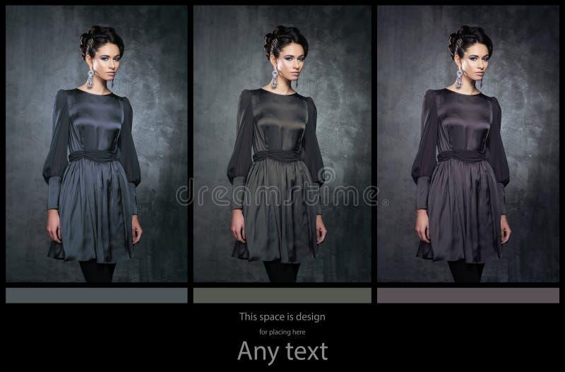 Mujeres jovenes en vestidos retros oscuros imagen de archivo libre de regalías