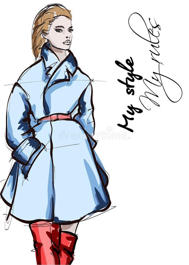 Mujeres jovenes hermosas en capa azul Muchacha dibujada mano de la moda Presentaci?n del modelo de manera Ejemplo del bosquejo stock de ilustración