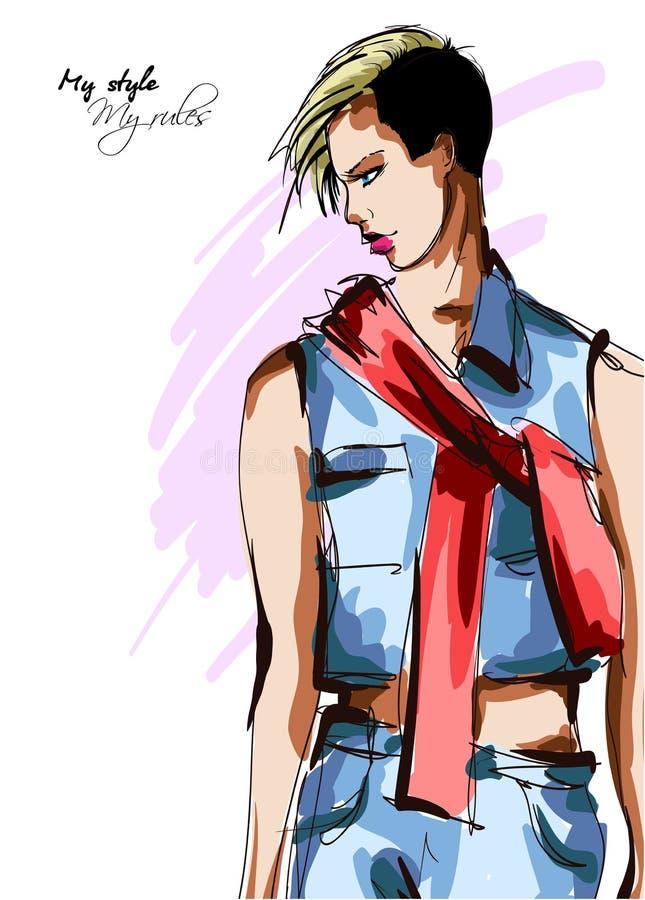 Mujeres jovenes hermosas en un traje del dril de algodón y una bufanda roja Muchacha dibujada mano de la moda Presentaci?n del mo ilustración del vector