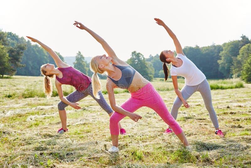 Mujeres jovenes que hacen yoga imagen de archivo libre de regalías