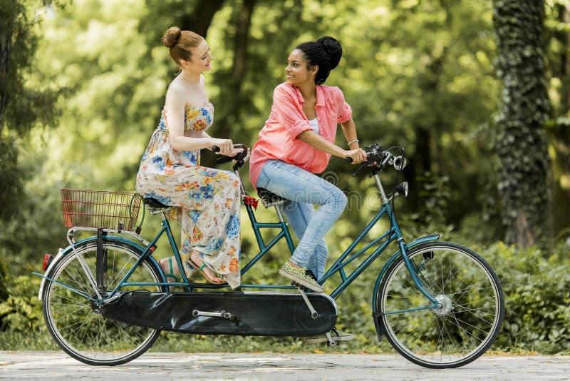 Mujeres jovenes que montan en la bicicleta en tándem fotografía de archivo libre de regalías