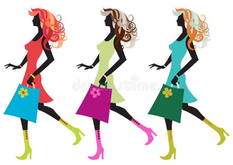 Mujeres jovenes que recorren libre illustration