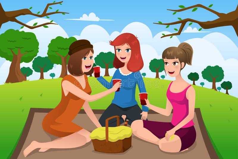 Mujeres jovenes que tienen comida campestre en un parque libre illustration