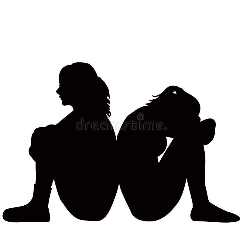 Mujeres jovenes tristes stock de ilustración