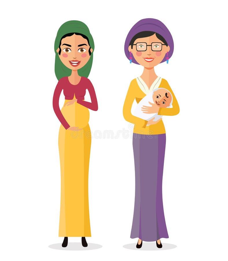 Mujeres judías con un ejemplo embarazada feliz del vector del bebé recién nacido libre illustration