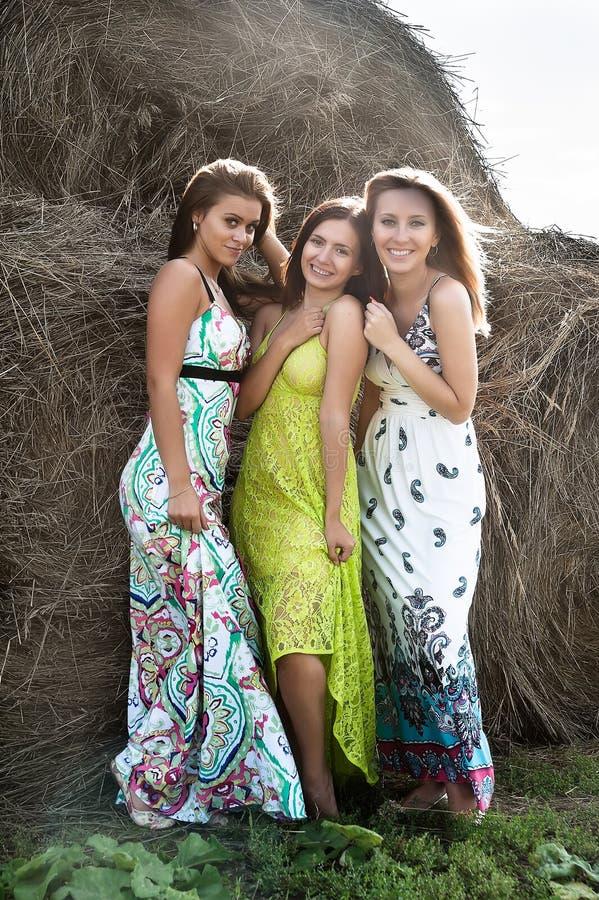 Mujeres juguetonas atractivas jovenes cerca de pilas del heno fotos de archivo