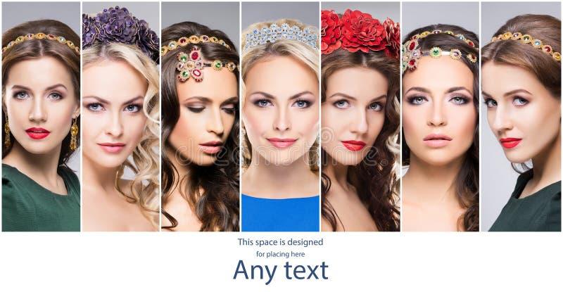 Mujeres magníficas, elegantes, y hermosas que llevan al joyero precioso fotos de archivo