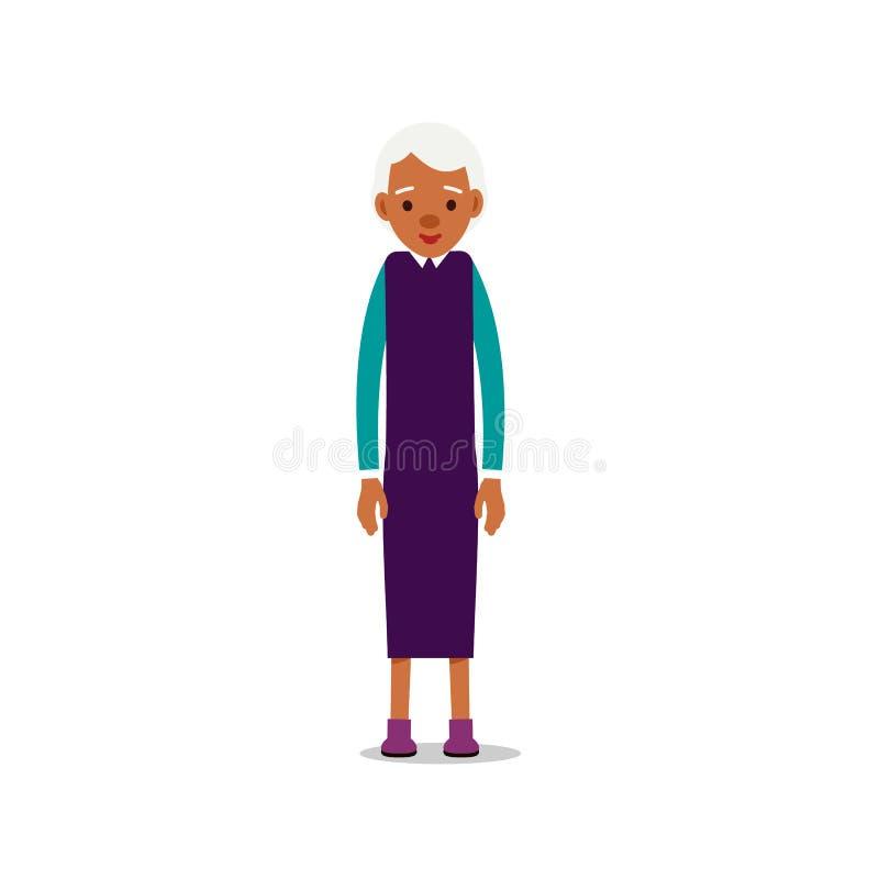 Mujeres mayores africanas modernas Una más vieja señora negra se retiró Situación y sonrisa felices de la abuela Forma de vida tr libre illustration