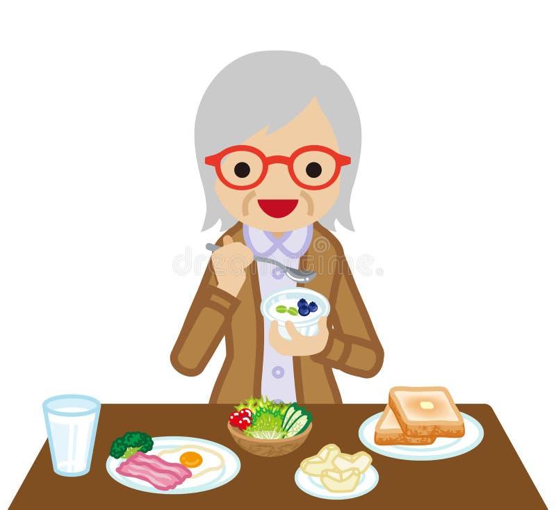 Mujeres mayores que comen el desayuno ilustración del vector