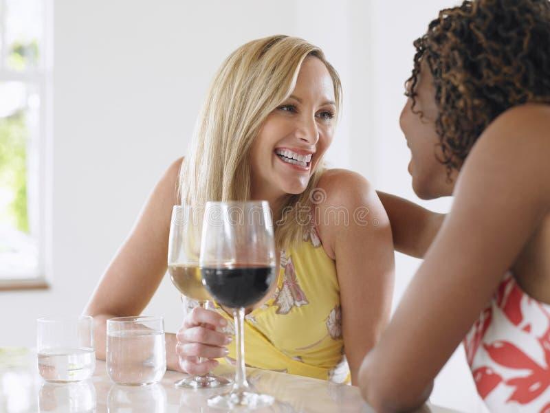 Mujeres multiétnicas que beben el vino foto de archivo libre de regalías