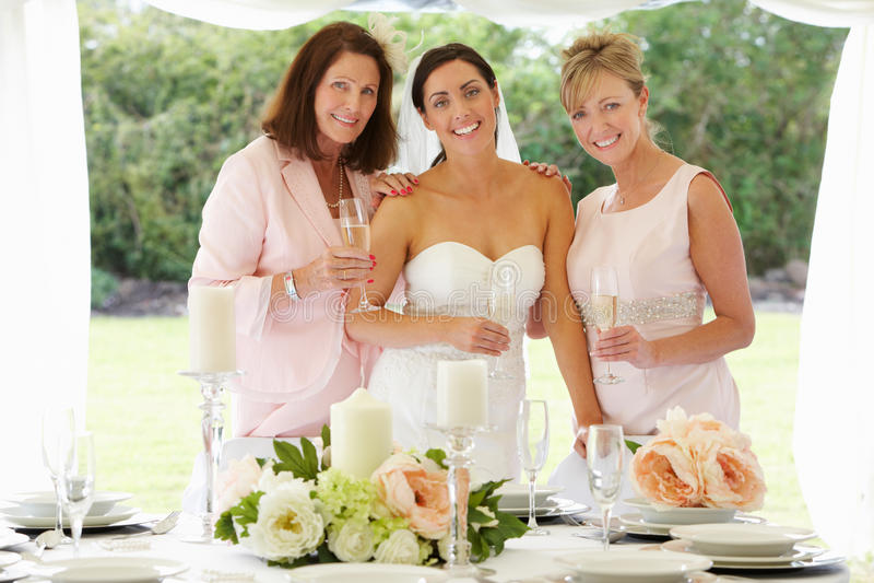 Mujeres multi de la generación en la boda foto de archivo