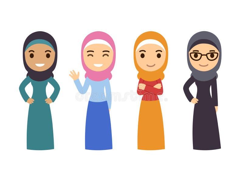 Mujeres musulmanes árabes fijadas stock de ilustración
