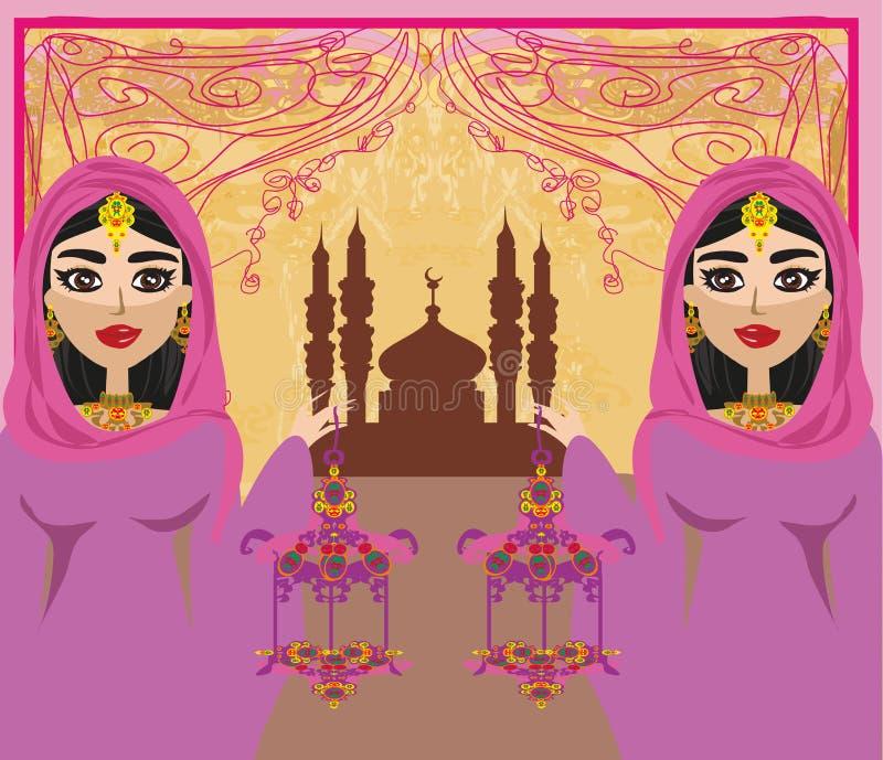 Mujeres musulmanes en fondo de la mezquita ilustración del vector