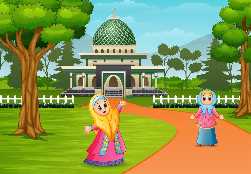 Mujeres musulmanes felices que presentan delante de mezquita ilustración del vector