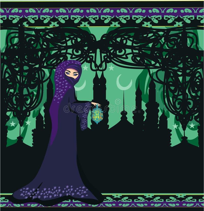 Mujeres musulmanes hermosas en fondo de la mezquita. stock de ilustración
