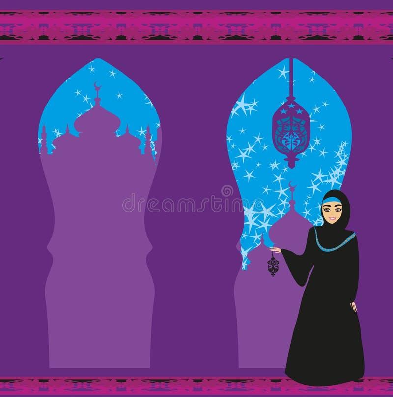 Mujeres musulmanes hermosas en fondo de la mezquita stock de ilustración