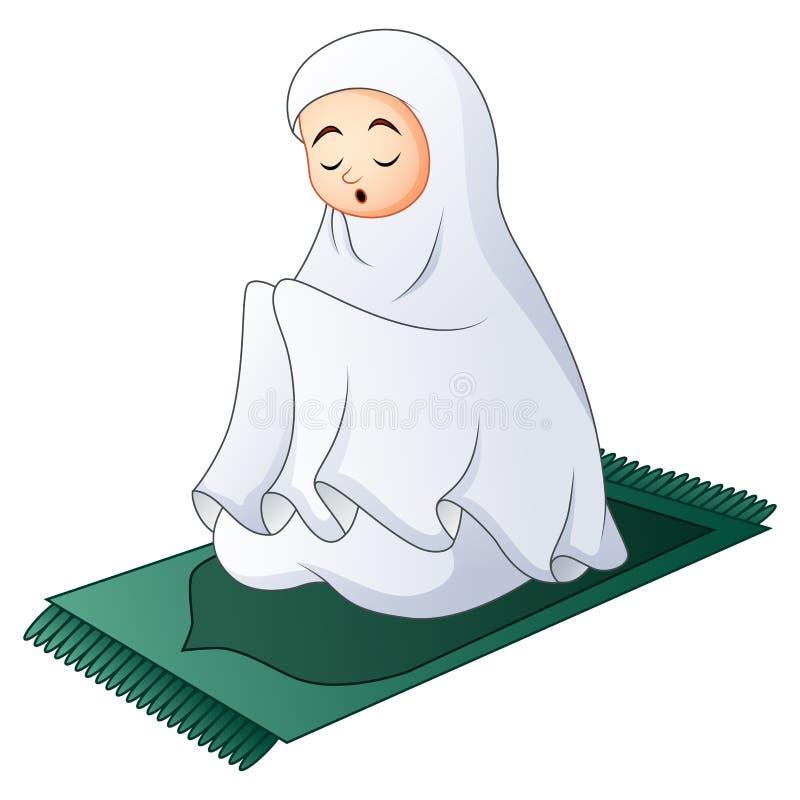 Mujeres musulmanes que se sientan en la manta de rezo mientras que ruega ilustración del vector