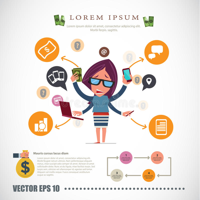 Mujeres ocupadas carácter del hombre de negocios - libre illustration