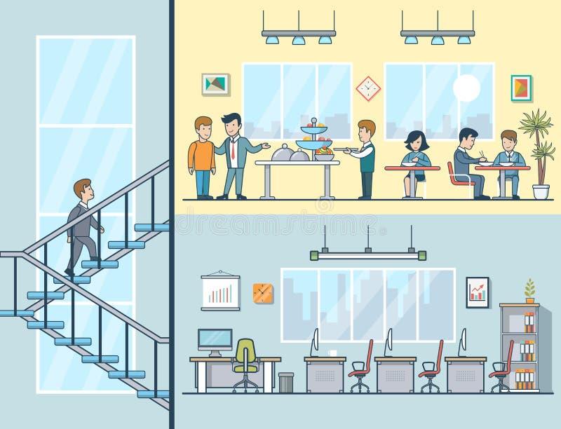 Mujeres planas lineares de los hombres de negocios que tienen oficina del almuerzo stock de ilustración