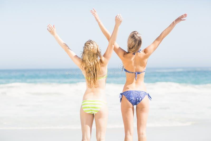 Mujeres posteriores emocionadas en el bikini que se coloca en la playa fotografía de archivo