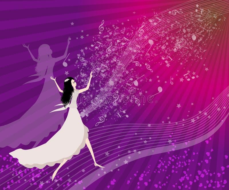 Mujeres que bailan con las notas musicales libre illustration