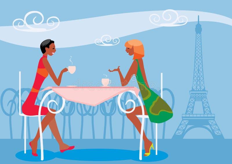 Mujeres que beben el café stock de ilustración