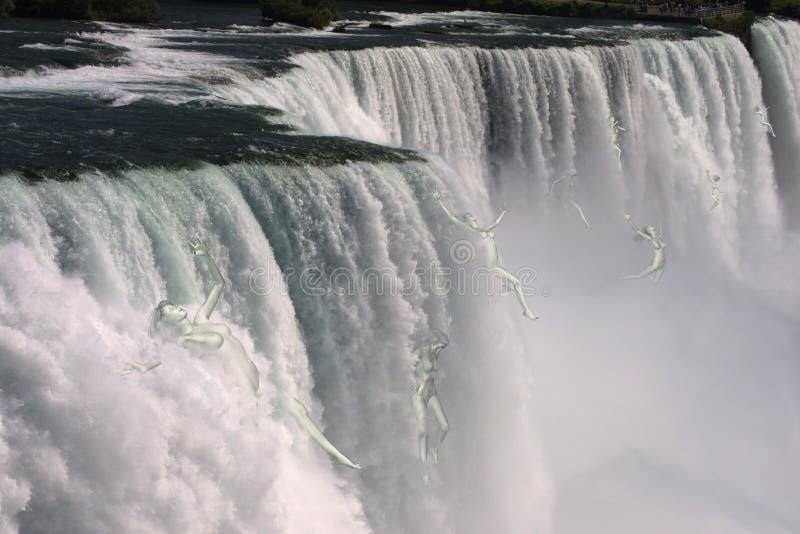 Mujeres que caen sobre Niagara Falls stock de ilustración