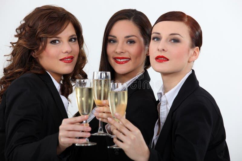 Mujeres que celebran con un vino foto de archivo