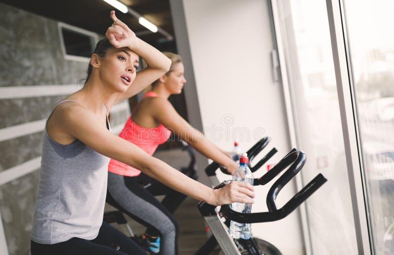 Mujeres que completan un ciclo en gimnasio durante clase de la aptitud fotografía de archivo libre de regalías