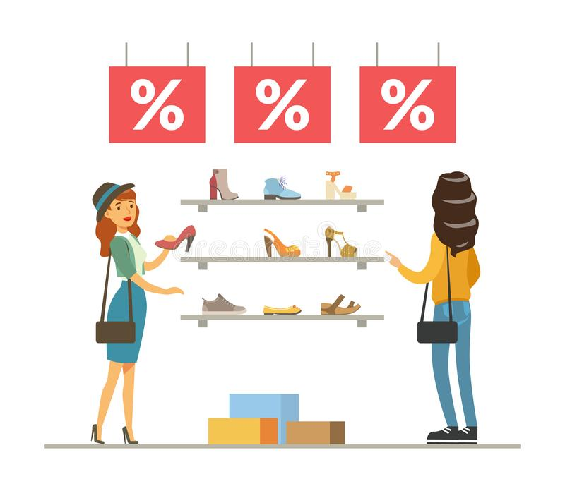 Mujeres que eligen y que compran los zapatos en la tienda, compras de la muchacha en el ejemplo del vector de la alameda ilustración del vector