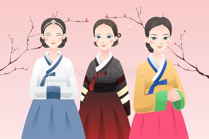 Mujeres que llevan el equipo coreano tradicional stock de ilustración